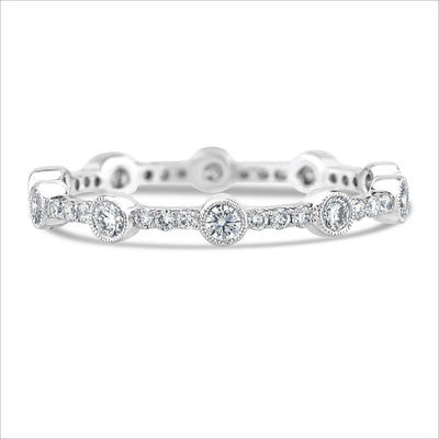 Beverley K Scattered Bezel Set Diamond Band - KLARITY LONDON