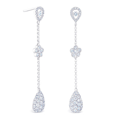 Pear Halo & Round Cluster Drops £2900 - KLARITY LONDON