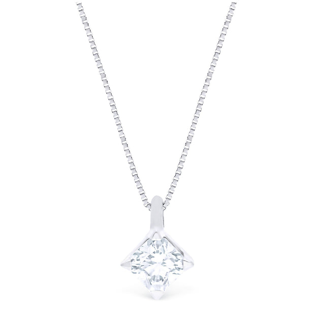 FOREVERMARK™ IDEAL SQUARE SOLITAIRE PENDANT - KLARITY LONDON