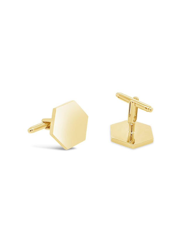 Hexagon Solid Gold Cufflinks