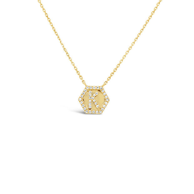 Diamond Hexagon K Necklace