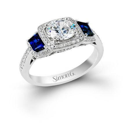 Simon G MR2247-A Cushion halo with Sapphire Shoulder set - KLARITY LONDON