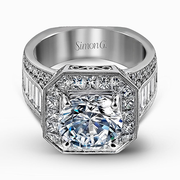 18k White Gold Diamond Dress Ring MR2277 - KLARITY LONDON