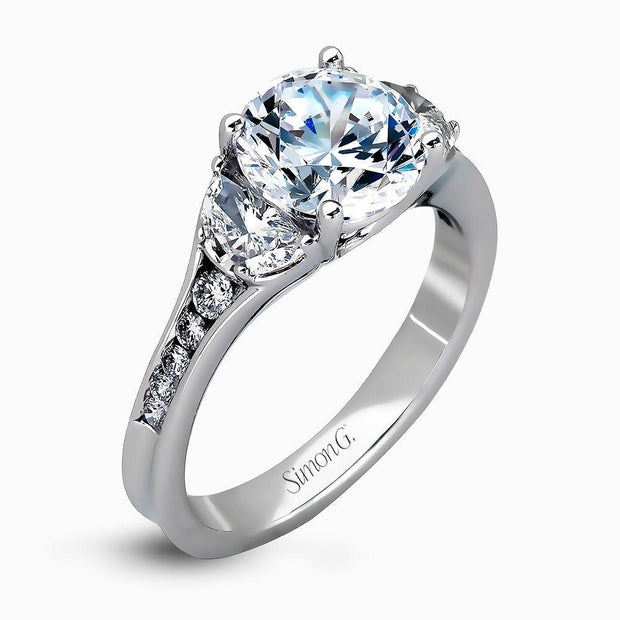 Simon G MR2310 Round Moon Cust and Channel diamond ring - KLARITY LONDON