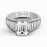18k White Gold Emerald + Baguette Diamond Dress Ring MR2353 - KLARITY LONDON