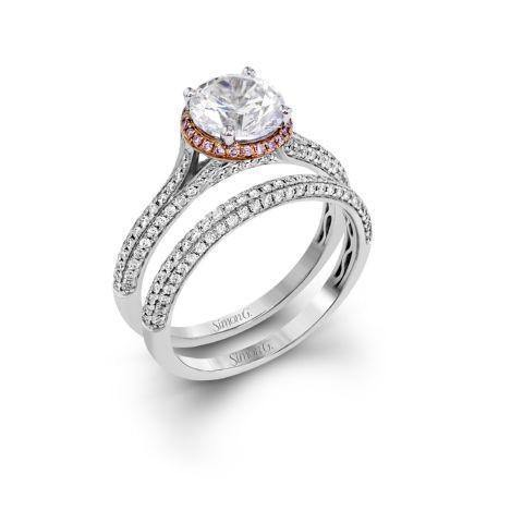 Simon G MR2737 Pink diamond halo Ring with Double Pave band - KLARITY LONDON