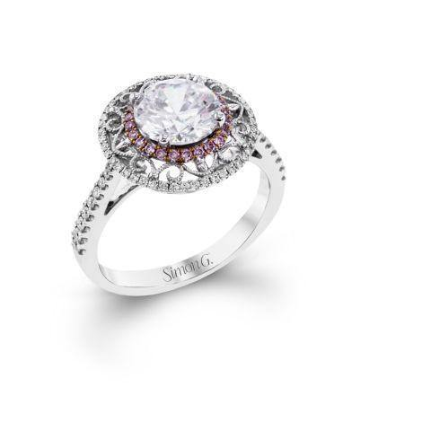 Simon G MR2825 Large halo with Pink diamonds and Vintage design - KLARITY LONDON