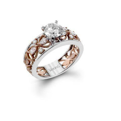 Simon G MR2835 Wide two tone diamond ring Floral design - KLARITY LONDON