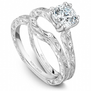 Engraved Shoulder Diamond Ring