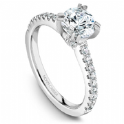 Round Pave Shoulder Diamond Ring