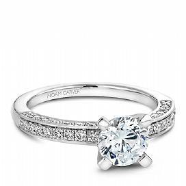 Three Sided Diamond Grain Set Shoulder Ring