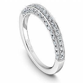 Large Three Sided Diamond Grain Set Shoulder Ring
