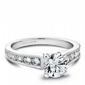 Channel Diamond Set Reverse Tapered Shoulder Ring
