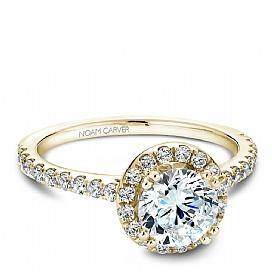 Round Halo Diamond Shoulder Ring