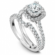 Cushion Halo Diamond Shoulder Ring