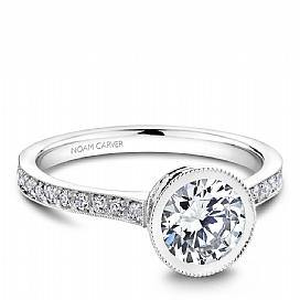 Bezel Diamond Shoulder Ring