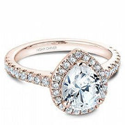 Pear Halo Diamond Shoulder Ring