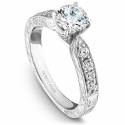 Diamond Shoulder Engraved Ring