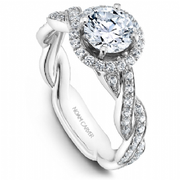 Round Halo Twist Diamond Shoulder Ring