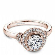 Round Halo With Rose Accent Shoulder Ring - KLARITY LONDON
