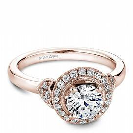 Round Halo With Rose Accent Shoulder Ring