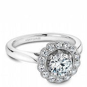 Mill grained  Halo Diamond Shoulder Ring