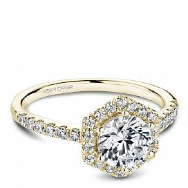 Hexagon Halo Diamond Shoulder Ring