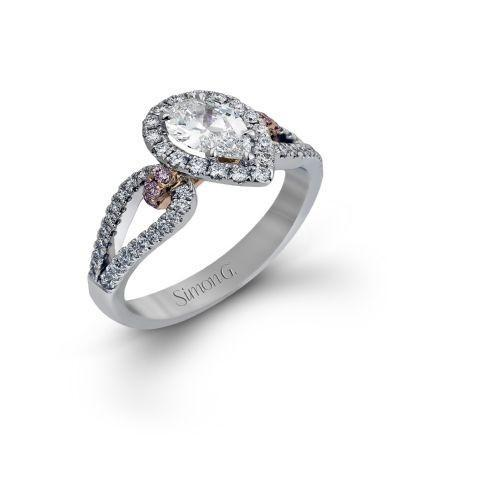 Simon G Pink diamond Pear Halo Dedsign NR467 - KLARITY LONDON