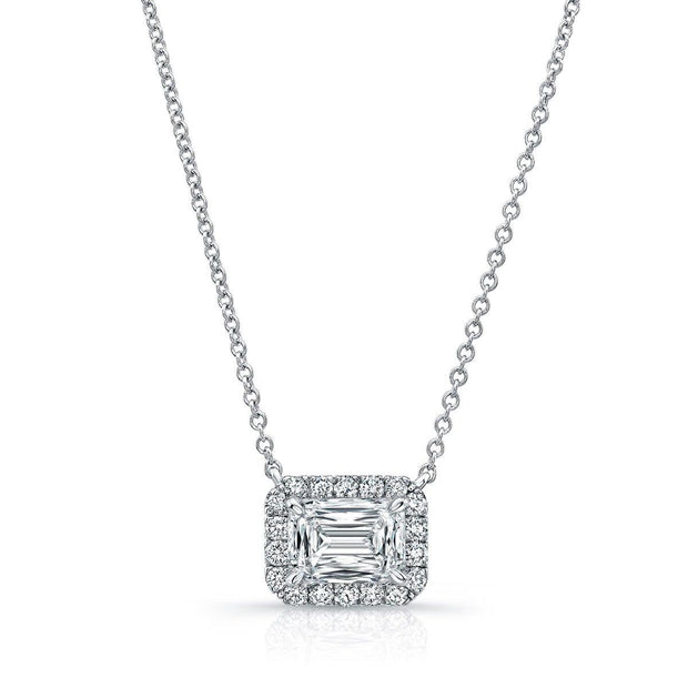 Halo Emerald Diamond Pendant