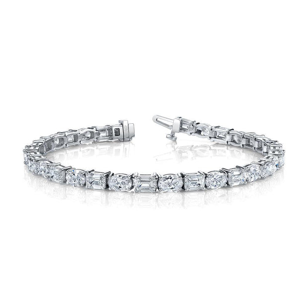 East West Emerald & Oval Diamond Bracelet Cut (20CTW)