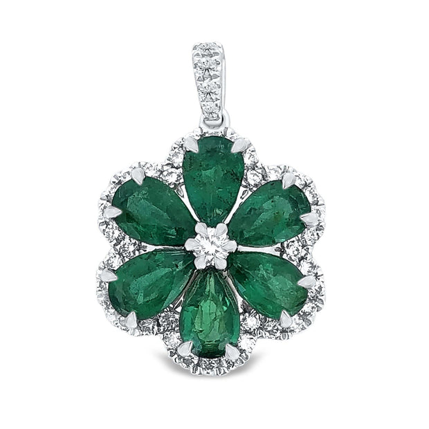 18k White Gold Emerald Floral Design Pendant - KLARITY LONDON