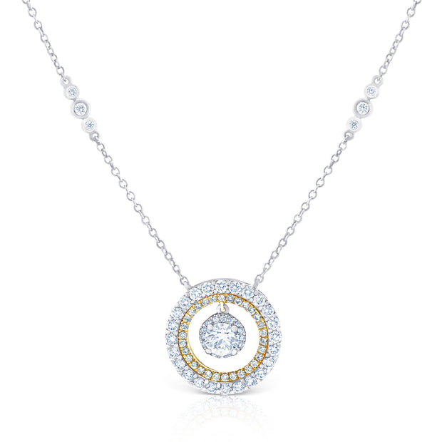 Round Double Halo Pendant £2400 - KLARITY LONDON
