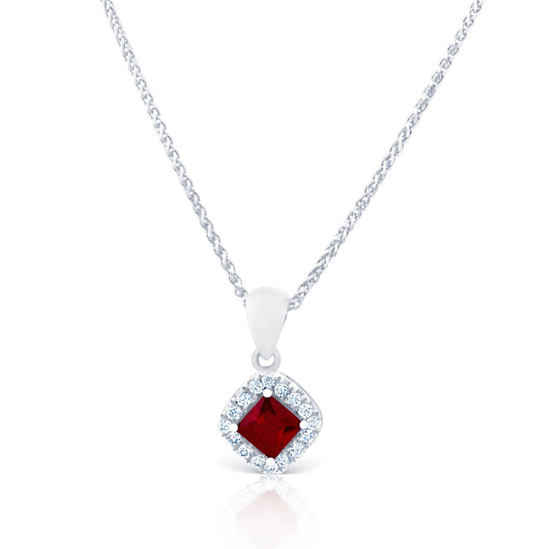 Diamond & Ruby Halo Pendant £1250 - KLARITY LONDON
