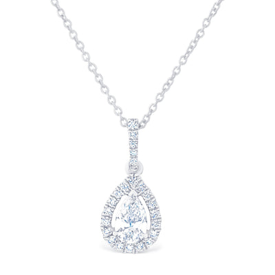 Pear Halo Pendant £1500 - KLARITY LONDON