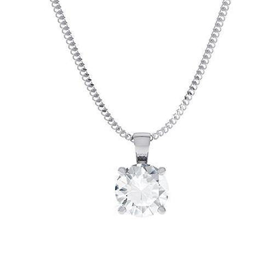 18k White Gold Diamond Solitaire Pendant - Round Brilliant Cut  (GIA F VS2 0.30ct) Excellent Cut - KLARITY LONDON