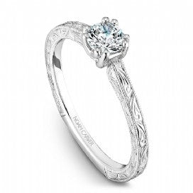 18k White Gold Vintage Style Diamond Ring S001-02WME - KLARITY LONDON
