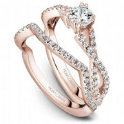 18k Rose Gold Twist Style Diamond Ring  S004-03RS - KLARITY LONDON