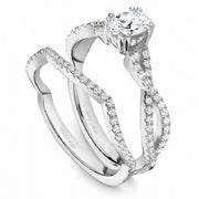 18k White Gold Twist Style Oval Cut Diamond Ring  S004-06WS - KLARITY LONDON