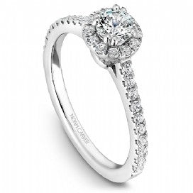 18k White Gold Halo Diamond Ring  S007-01WS - KLARITY LONDON