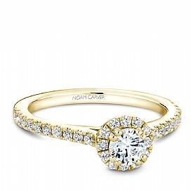 18k Yellow Gold Halo Style Diamond Ring S007-01YS - KLARITY LONDON