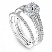 18k White Gold Pear Halo Double Band Diamond Ring  S015-04A - KLARITY LONDON