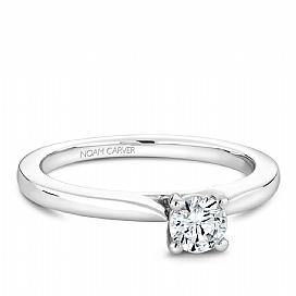 18k White Gold Solitaire Diamond Ring S018-01A - KLARITY LONDON