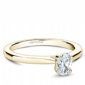 18k Yellow Gold Oval Solitaire Diamond Ring S018-03YA - KLARITY LONDON