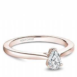 18k Rose Gold Pear Drop Solitaire Diamond Ring S018-05RA - KLARITY LONDON