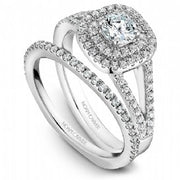18k White Gold Double Halo Diamond Ring  S035-01A - KLARITY LONDON