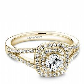 18k Yellow Gold Double Halo Diamond Ring  S035-01YA - KLARITY LONDON