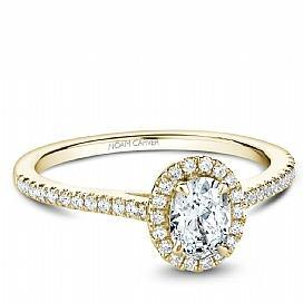 18k Yellow Gold Oval Halo Diamond Ring  S094-03YA - KLARITY LONDON