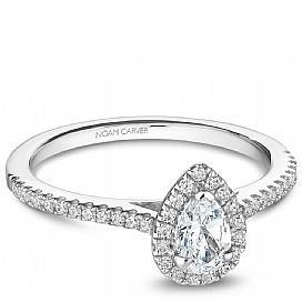 18k White Gold Pear Halo Diamond Ring  S094-04A - KLARITY LONDON