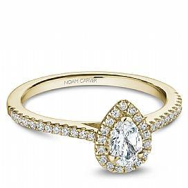 18k Yellow Gold Pear Halo Diamond Ring  S094-04YA - KLARITY LONDON