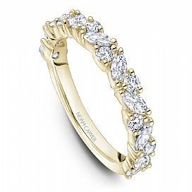 18k Yellow Gold Round & Marquise Style Band STA46-1YM - KLARITY LONDON